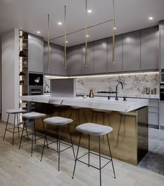 42 Stunning Modern Contemporary Kitchen Cabinet Design - Page 2 of 31 - KitchenRemodel. Contemporary Kitchen Cabinets, Contemporary Kitchen Design, Contemporary Interior, Contemporary Garden, Luxury Interior, Contemporary Style, Contemporary Office, Contemporary Architecture, Contemporary Benches