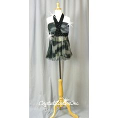 Black/Gray Tie-Dyed Baby Doll Top & Booty Shorts - Rhinestones - Size AXS