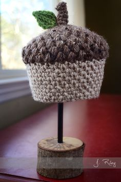 Baby Acorn Crochet Hat. Inspiration only, but I love it!