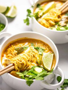 These Vegan Curry Ramen Noodles loaded with fresh veggies and rich curry flavors. - These Vegan Curry Ramen Noodles loaded with fresh veggies and rich curry flavors, you'll feel good - Ramen Noodle Recipes, Ramen Noodles, Roasted Squash, Roasted Butternut, Lemon Tahini Sauce, Curry Ramen, Breakfast Egg Casserole, Cilantro Sauce, Vegan Curry