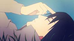 Poking his own forehead... He misses Itachi...That's so sad (Sasuke - Naruto)