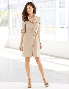The Vanessa Dress button down shirt dress from $150.00 — $295.00.  For more inspiration: https://anatomie.com/shop/ #style #fashion