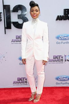 Janelle Monae. Love all her menswear inspired outfits, she looks so classy!