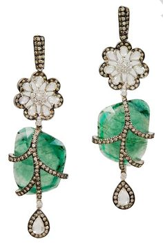 Ornate Emerald and Rose Cut Diamond Earrings