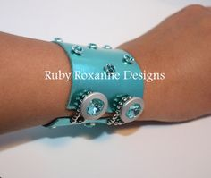 Metallic Turquoise Leather Cuff with by RubyRoxanneDesigns on Etsy, $120.00