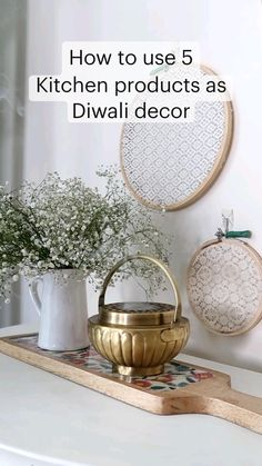 Diwali Decorations, Diy Party Decorations, Festival Decorations, Wooden Platters, Diy Crafts For Home Decor, Indian Home Decor, Glass Jars, Tea Pots, Plates