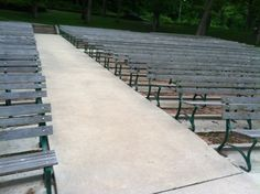 here is the seating at the outdoor amphitheater for our ceremony at Slyvan Theater. I'm looking for ways to add color to the aisle without a lot of expense.