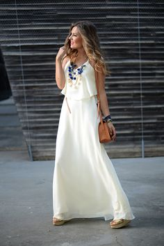 White Maxi Dress Feminine Style by Mi Aventura Con La Moda. I like the dress and the jewelry but not with those shoes or with that purse :/ Beautiful Maxi Dresses, White Maxi Dresses, Nice Dresses, Girls Dresses, Feminine Dress, Feminine Style, Only Fashion, White Fashion, Casual Street Style