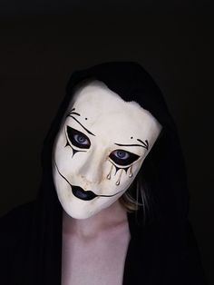 Creepy Black and White Halloween Mask with Tears