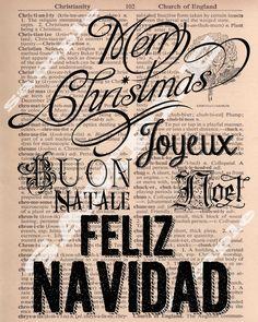 Merry Christmas, Buon Natale, Joyeux Noel, Feliz Navidad Holiday Subway Dictionary Art Printable Download