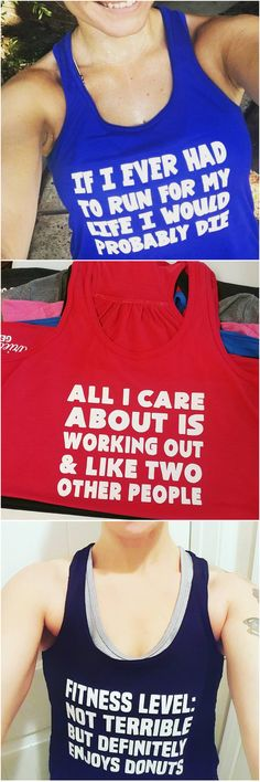 Funny workout tanks, perfect for all types of fitness like running or lifting.
