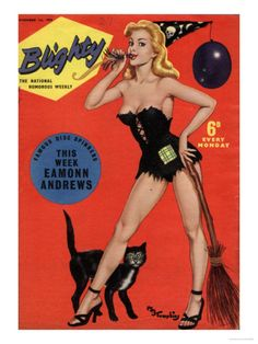 Blighty, Glamour Pin-Ups Models Halloween Magazine, UK, 1958 Premium Poster