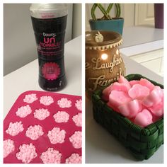 """Make your own """"wax cubes (flowers)"""" for a lot cheaper than scentsy. Candle warmer from Walmart, downy unstoppables and ice tray from ikea. Fill tray, put in microwave for 3 minute stick in freezer to harden in minutes."""