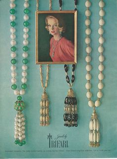 1962 TRIFARI Tasseled Long Necklaces Faux Pearls Gold #vintage #costume #jewelry #ad by ChicTiques on Etsy