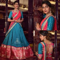 Check out these pretty South Indian half sarees for wedding by the brand Teja sarees. Lehenga Saree Design, Half Saree Lehenga, Lehnga Dress, Saree Look, Lehenga Designs, Indian Lehenga, Indian Bridal Outfits, Indian Designer Outfits, Designer Dresses