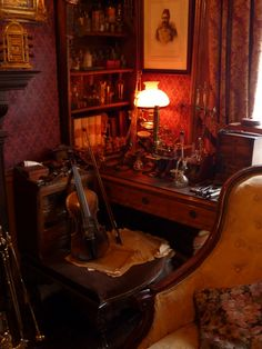 Inside 221b Baker Street - at the Sherlock Holmes Museum, London