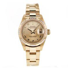 Ladies Rolex Datejust 26mm 79138 President 18k Gold Watch Factory Diamond Bezel #Rolex #LuxuryDressStyles