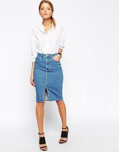 Image 1 of ASOS Denim Split Front Midi Pencil Skirt in Midwash Blue