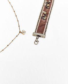 Image 2 of PACK OF VELVET AND GEM CHOKER from Zara