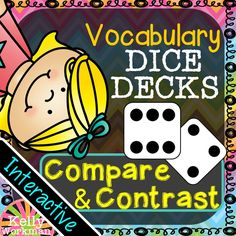 Help your students build their vocabulary while developing their reasoning skills! These interactive task cards help students identify similarities and differences among vocabulary words! 30 task cards x 3 tasks each = 90 total opportunities to practice comparing and contrasting! DICE DECKS are highly engaging! Have a student roll a die. If it lands on a 1 or 4, task A will be completed. If it lands on a 2 or 5, task B will be completed. If it lands on a 3 or 6, task C will be completed.