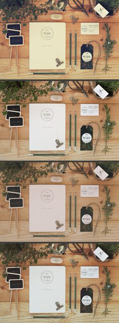 Stationery mock up with plant & wood. Included 3 special effects.  Easily change any designs with the use of smart object.