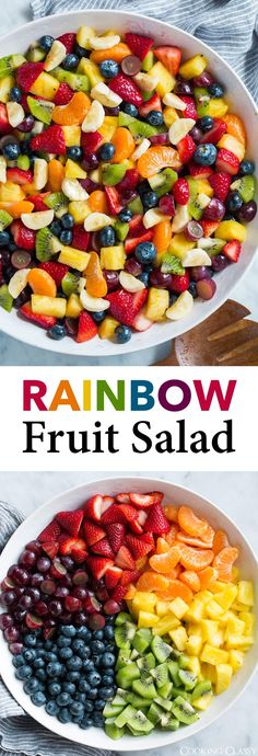 Honey Lime Rainbow Fruit Salad - Cooking Classy The indispensable soups of ou. Honey Lime Rainbow Fruit Salad - Cooking Classy The indispensable soups of our kitchen gain importance with the cooling Best Fruit Salad, Fruit Salad Recipes, Summer Fruit Salads, Fruit Salad Ideas Parties, Bbq Salads, Healthy Snacks, Healthy Eating, Healthy Recipes, Fruit Snacks