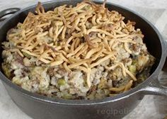 Chow Mein Hotdish   ~Ingredients~   -1 lb Hamburger  -1 Can Cream of Mushroom  -1 Can Cream of Chicken  -2 tbls Soy Sauce   -1.5 cups water   -1.5 cups of Minute Maid Rice   -Celery (optional)  -Bag of Chow Mein noodles     Cook: Brown hamburger. In separate dish, mix Can of Mushroom, Can of Chicken, rice, water and soy sauce until mixed evenly. add hamburger. Place dish in overn for 30 minutes at 350 degrees. After 30 min. add Chow mein egg noodles. Bake for another 10 minutes.