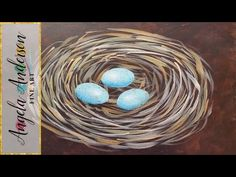 Easy Bird Nest Acrylic Painting Tutorial | Free Beginner Art Lesson | Learn to Paint a Nest - YouTube