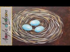 Bird Nest Fingerpainting LIVE Acrylic Painting Tutorial - YouTube
