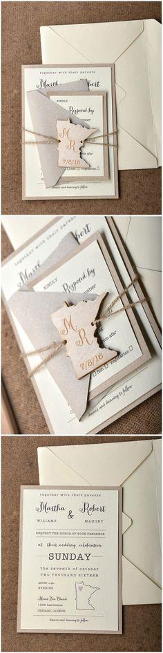 Wedding Invitations with wooden love map tag on twine - completely customisable ! #weddingideas #wood #rustic #eco #wooden #country #wedding #weddingtheme #love #travel #lovemap #custom