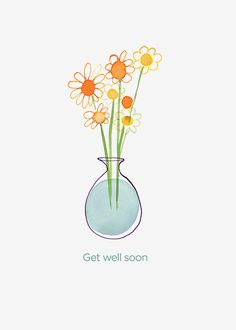 Margaret Berg Art : Illustration : get well / sympathy Diy Cards Get Well, Get Well Soon Flowers, Get Well Wishes, Birthday Card Design, Cute Clipart, Card Sentiments, Botanical Drawings, Flower Images, Cactus