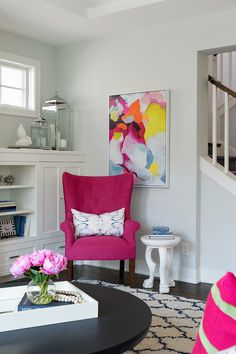 Magenta Chair Magenta Accent Chair Magenta Chair against a light grey wall #chair More on Home Bunch blog