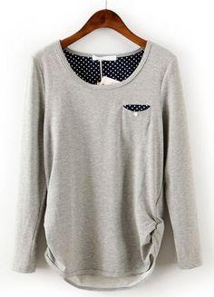 Grey Long Sleeve Polka Dot Pocket T-Shirt US$24.43