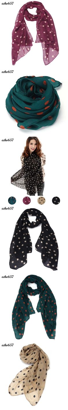Echo657 Fashion Women Long Wrap Shawl Polka Dot Chiffon Scarf Scarves Stole Oct 31