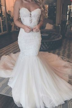 Wedding dresses - 2019 Sweetheart neckline Tulle Mermaid Wedding Dress with Appliques, Sexy Sleeveless Bridal Dresses Spaghetti Strap Wedding Dress, Wedding Dresses With Straps, Wedding Dress Train, Lace Mermaid Wedding Dress, Backless Wedding, Long Wedding Dresses, Mermaid Dresses, Cheap Wedding Dress, Bridal Lace