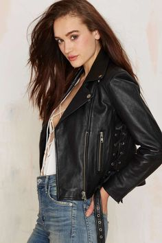 Nasty Gal West Up Leather Moto Jacket - Clothes | All | Party Shop | Moto + Leather | Jackets + Coats | Clothes | Jackets SIZE MEDIUM OMG