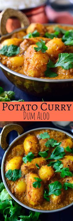 This spicy vegan potato curry is full on with flavour and easy to make with pantry staples. Fried potatoes are simmered in a spicy and savory tomato-cashew sauce infused with delicious, aromatic Indian spices