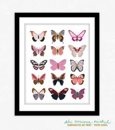 Pink Butterflies  Collage Illustration Art by TheCuriousNickel, $15.00