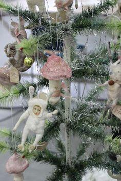Fil À Sophie feather tree Fil À Sophie antique inspired handmade spun cotton whimsical ornaments