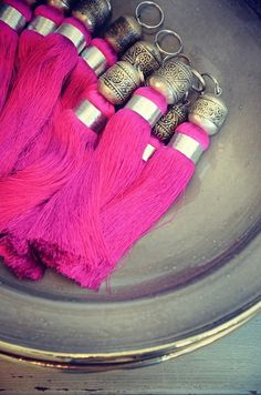Hot pink Moroccan tassels