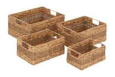 Introducing This Amazing Styled Sea Grass Basket That Will Be A Perfect Storage For Your Interiors. The Sea Grass Basket Comes In A Set Of 4 Each With Same T. Seagrass Storage Baskets, Rattan Basket, Wicker, Fabric Storage Bins, Fabric Bins, Peach Color Palettes, Rectangular Baskets, Plastic Baskets, Basket Shelves