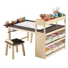 For art corner of playroom. Deluxe Art Center Set by Guidecraft Kids Art Table, Kid Table, Table And Chair Sets, Art Tables, Kids Table And Chairs, Kids Craft Tables, Table Stools, Lego Table, Toddler Art Table