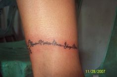 an ankle bracelet tattoo with family names - mine will be on the wrist