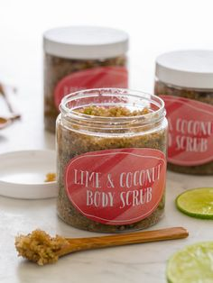 DIY: lime-coconut body scrub