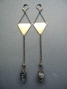 Geometric Triangle Earrings / Gold Brass Triangles / by Chrysalism