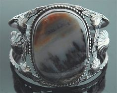 Native American Picture Agate and Sterling Cuff Bracelet
