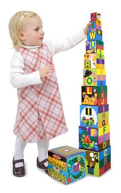 Alphabet Nesting and Stacking Blocks: Brightly colored animals and familiar objects illustrate the letters of the alphabet on these cardboard blocks. Nested, the ten vibrant blocks fit into the included carrying case. Stacked, they form a tower nearly three feet high!