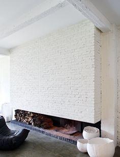 De ladrillo blanco #Chimeneas #Fireplace #decor #living #salón