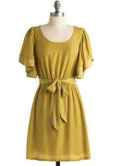 Here, Pear, and Everywhere Dress - Yellow, Solid, A-line, Short Sleeves, Party, Spring, Summer, Fall, Mid-length
