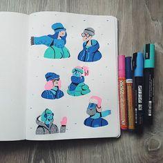 Winter sketches ❄☃ #illustration #drawing #nuuna #sketchbook #posca #winter #character #sketch #ilustratie